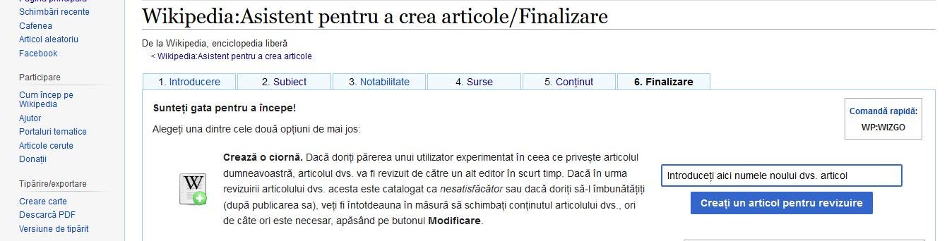 Creare articole Wikipedia
